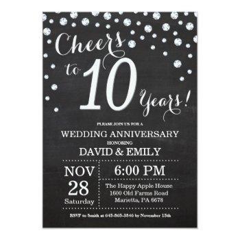 10th wedding anniversary chalkboard black silver invitation