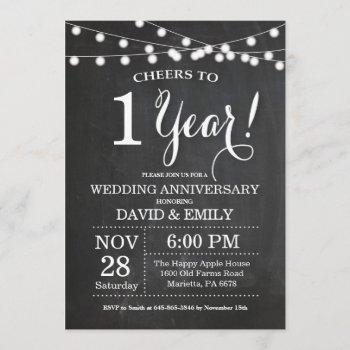 1st wedding anniversary invitation chalkboard