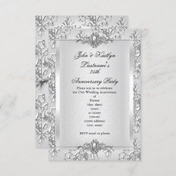 25th anniversary party damask silver white small invitation