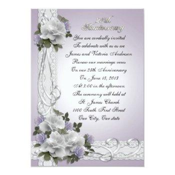25th anniversary vow renewal white roses invitation