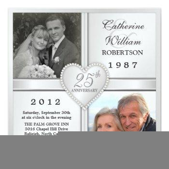 25th silver anniversary heart photo invitations
