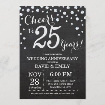 25th wedding anniversary chalkboard black silver invitation