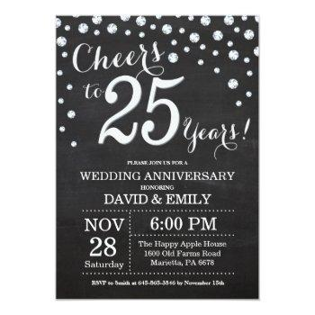 25th wedding anniversary chalkboard black silver invitation