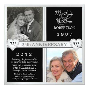 25th wedding anniversary hearts photo invitations