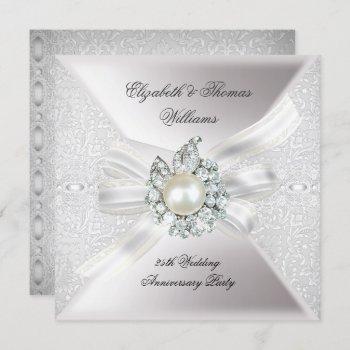 25th wedding anniversary party lace pearl white invitation