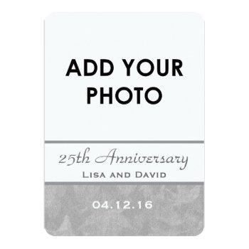 25th wedding anniversary silver muted leaves b09a invitation