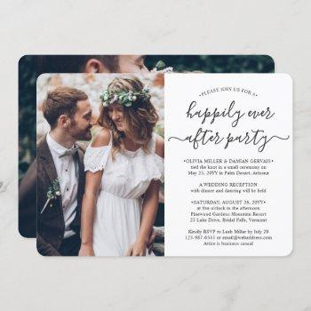 2 photo happily ever after party wedding reception invitation