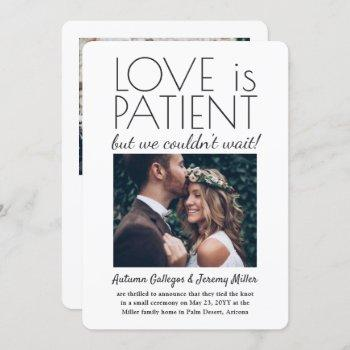 2 photo reception only love is patient wedding invitation