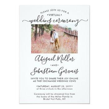 Small 2 Photo Virtual Wedding Livestream Long Distance Invitation Front View