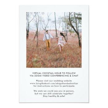 Small 2 Photo Virtual Wedding Livestream Long Distance Invitation Back View
