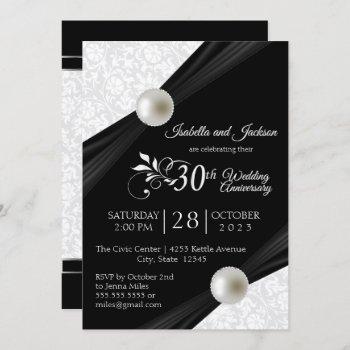 30th pearl anniversary design - black and white invitation