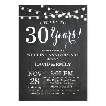30th wedding anniversary invitation chalkboard