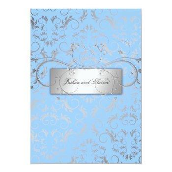 311-silver divine   light blue invitation