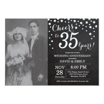 35th wedding anniversary chalkboard black silver invitation