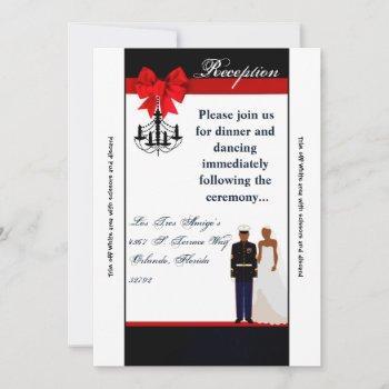 3.5x7 reception card marine african uniform groom