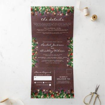 3 in 1 rustic christmas winter wedding tri-fold invitation