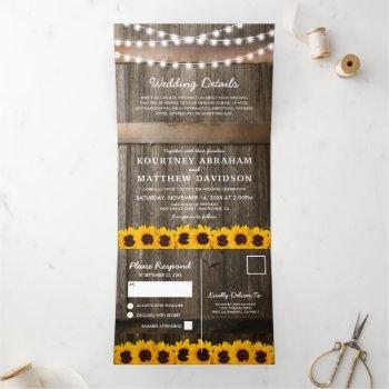 3 in 1 rustic country sunflower wedding tri-fold invitation