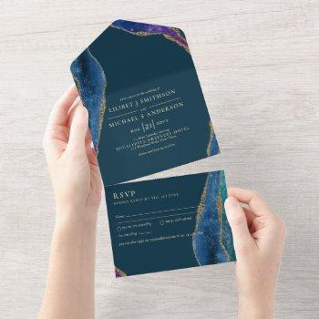 3in1 peacock blue green gold agate  wedding rsvp a all in one invitation