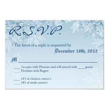 3x5 r.s.v.p. reply card crystal snowflakes winter