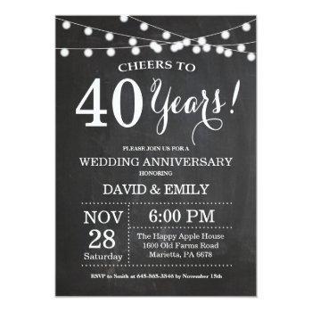 40th wedding anniversary invitation chalkboard