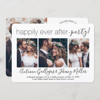 4 photo happily ever after party wedding reception invitation