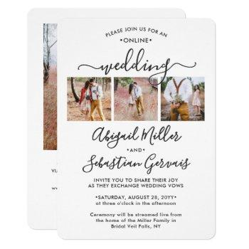 4 photo online virtual wedding ceremony elegant invitation