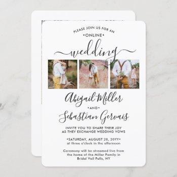 4 photo online virtual wedding ceremony elegant invitation
