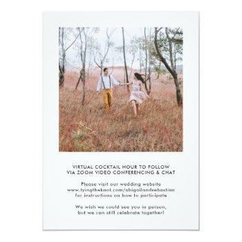 Small 4 Photo Online Virtual Wedding Ceremony Elegant Invitation Back View