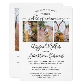 4 photo virtual wedding livestream long distance invitation