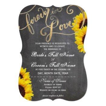 4ever love chalkboard sunflower wedding invitation