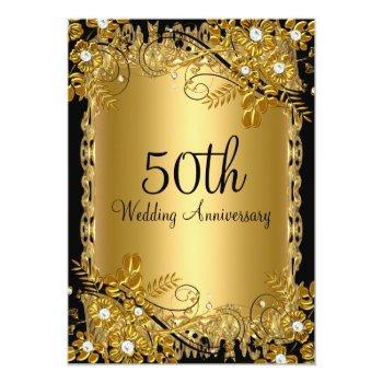 Small 50th Anniversary Gold Black Diamond Floral Swirl Invitation Front View