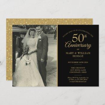 50th anniversary gold hearts wedding photo invitation