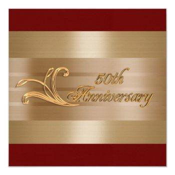 50th anniversary invitation gold red