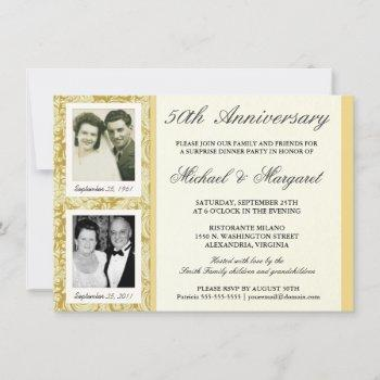 50th anniversary then now two photos invitation