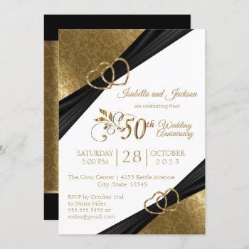 50th golden heart anniversary design invitation