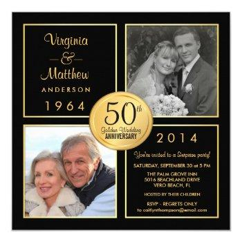 50th golden wedding anniversary surprise party invitation
