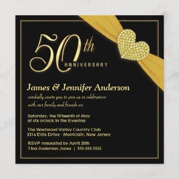 50th wedding anniversary black gold invitations