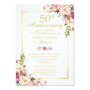 Small 50th Wedding Anniversary Elegant Chic Gold Floral Invitation Front View