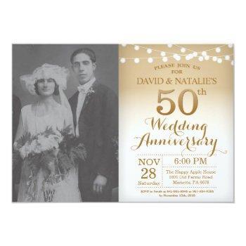 50th wedding anniversary invitation gold photo
