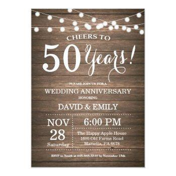 50th wedding anniversary invitation rustic wood
