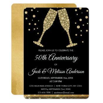 50th wedding anniversary party champagne glasses invitation