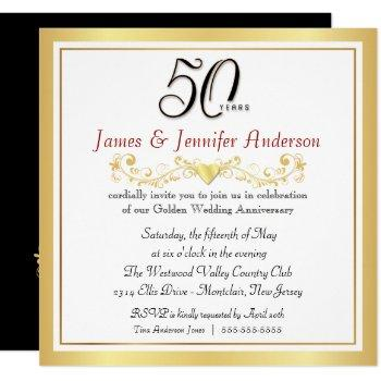 50th wedding anniversary party gold invitations