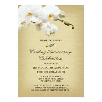 50th wedding anniversary vintage white orchid invitation