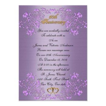 50th wedding anniversary vow renewal lavender invitation