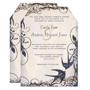 5 x 7 vintage love birds navy wedding invites