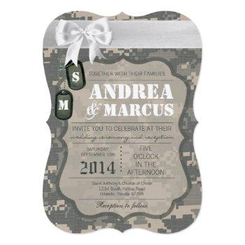 5x7  army acu uniform camo wedding invitation