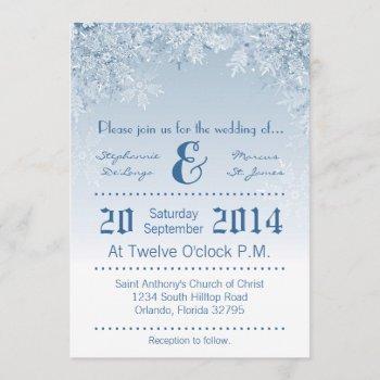 5x7 crystal snowflakes winter wedding invitation