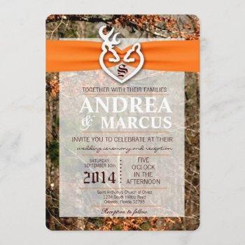 5x7 deer couple doe buck camo wedding invitation
