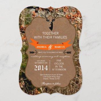 5x7 hunting deer buck head camo wedding invitation