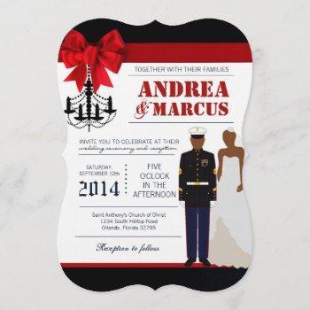 5x7  marine african ame uniform wedding invitation